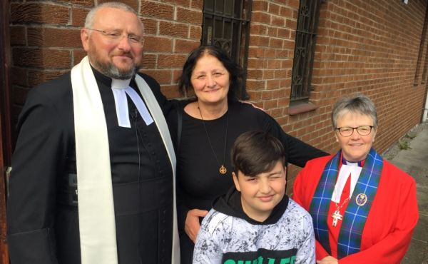 Rt Rev Susan Brown visited Springburn Church where she celebrated the good news that 10-year-old orphan Giorgi Kakava and his grandmother Ketino Baikhadze have been granted permission to remain in Scotland after a petition by Rev Brian Casey gained widespread support.