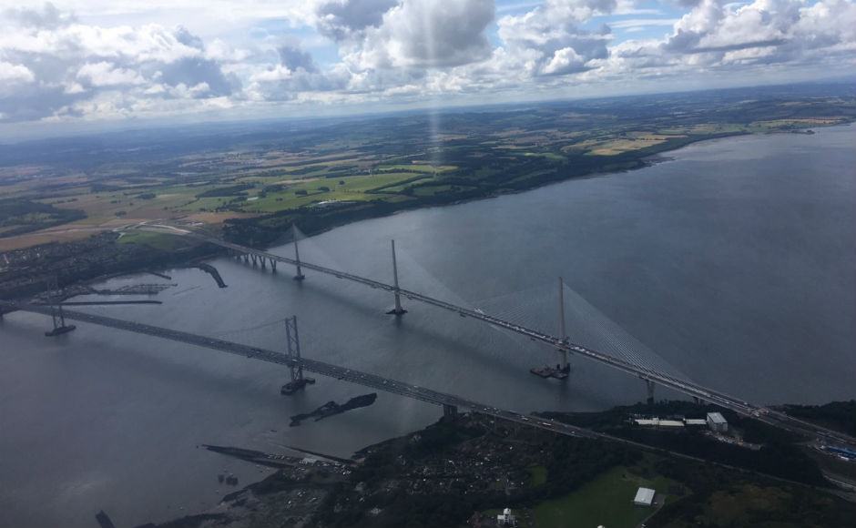 A view of Queensferry Crossing from above