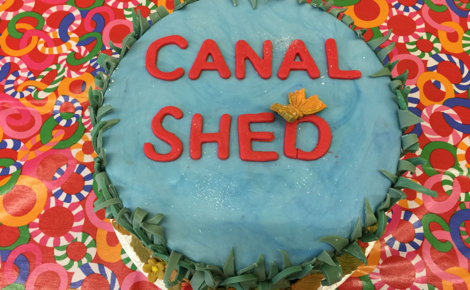 A cake to celebrate the opening of the Canal Shed Project