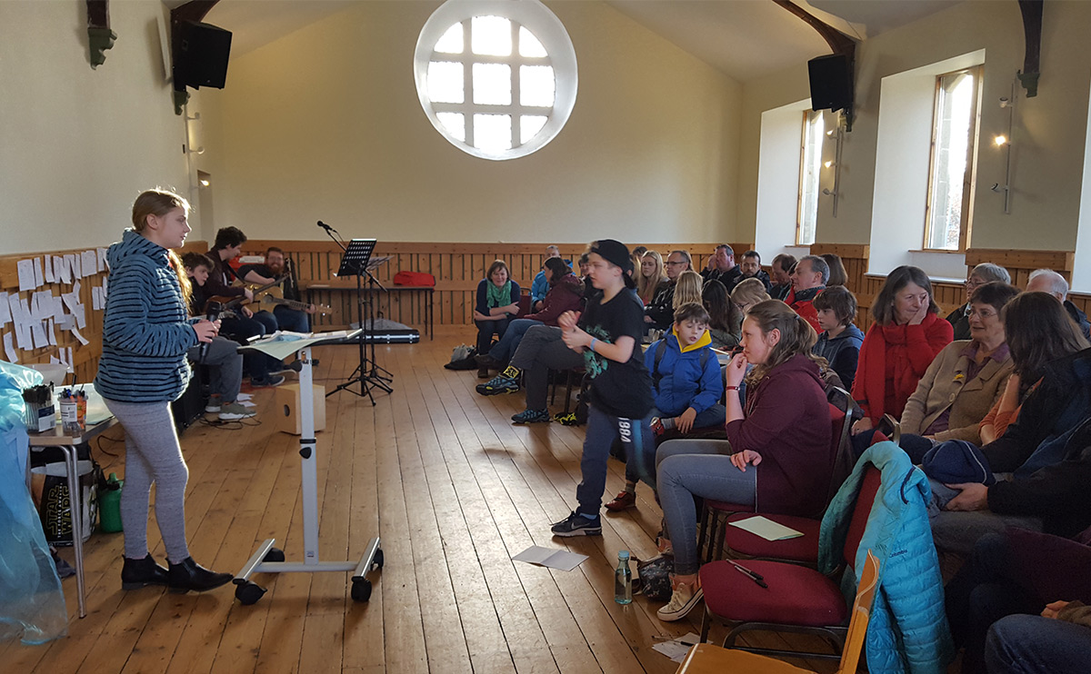 Young people in Fusion youth group leading the Sunday service at Orchardhill Parish Church
