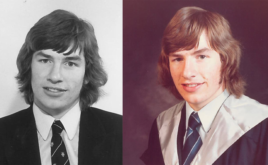 Colin at school and graduating from university