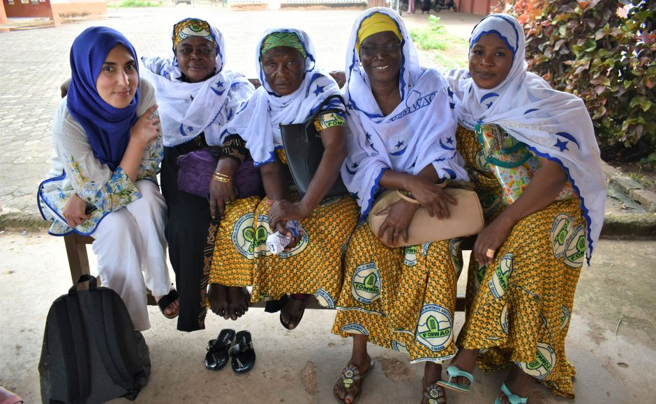 Group member Dr Sahira Dar, left, with women from the Federation of Muslim women association in Ghana (FMWAG) in Wa. Members of FMWAG are involved with the Christian-Muslim dialogue group for the north-west region of Ghana