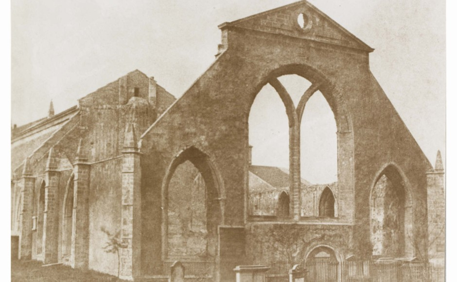 Greyfriars Kirk partly as a ruin in 1846 by David Octavius Hill.