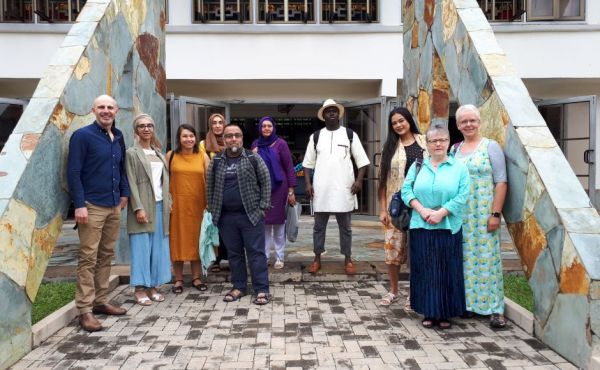 The group from Scotland outside Trinity United Church in Accra before a service