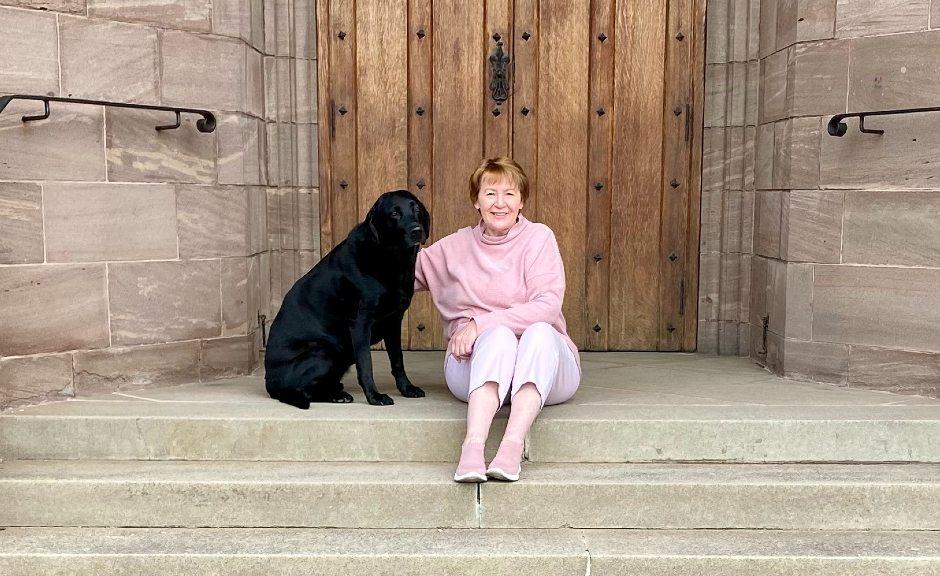 Rev Dr Karen Fenwick with her dog Mitzi