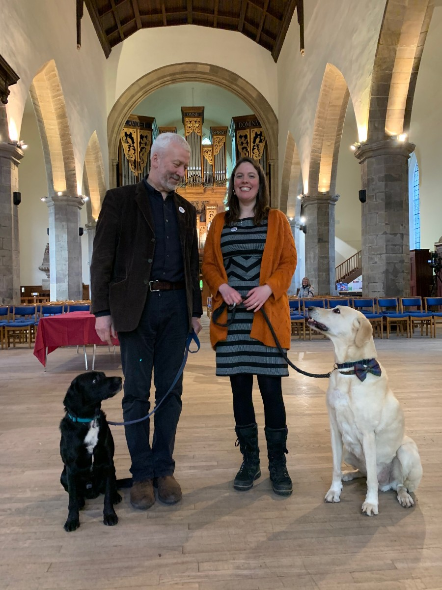 Rev Richard Frazer with his dog Guinness and Gillian Couper with her dog Toby